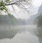 fog on peach blossom river in Guilin